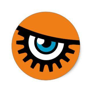 Halloween Party Stickers: Clockwork Orange Eye Design 15% OFF SALE