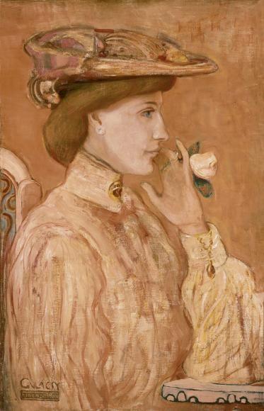 Gulácsy Lajos - Nő rózsával, 1904 | Kovács Gábor Gyűjtemény