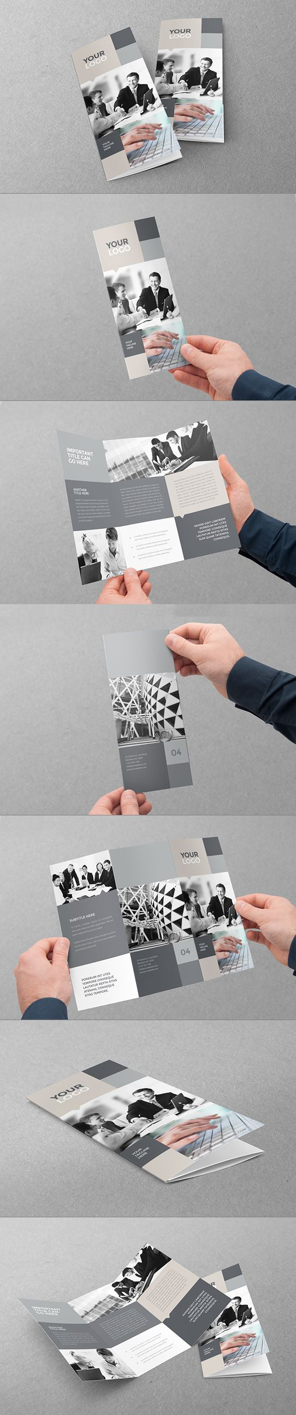Simple Business Grey Trifold. Download here: http://graphicriver.net/item/simple-business-grey-trifold/11370585?ref=abradesign #design #brochure #trifold