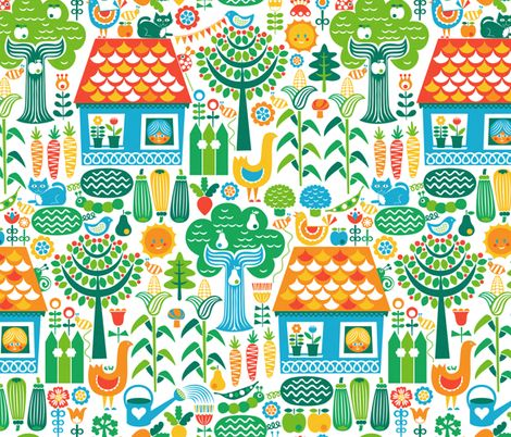 Cottage Garden  fabric by christinewitte on Spoonflower - custom fabric