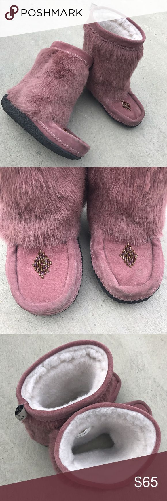 "Muks Rabbit Fur Boots • Genuine rabbit fur and suede upper • Beads forming diamond shape at front • Genuine sheepskin footbed • 9"" shaft height • 1"" platform • Only worn a couple times and in excellent condition - some dirt at front of shoes Muk Luks Shoes Winter & Rain Boots"