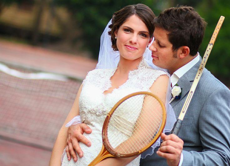 Bride & Groom + old school tennis racquet