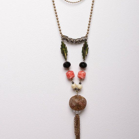 Caged pearl three-tier necklace by DriftwoodandMoss on Etsy