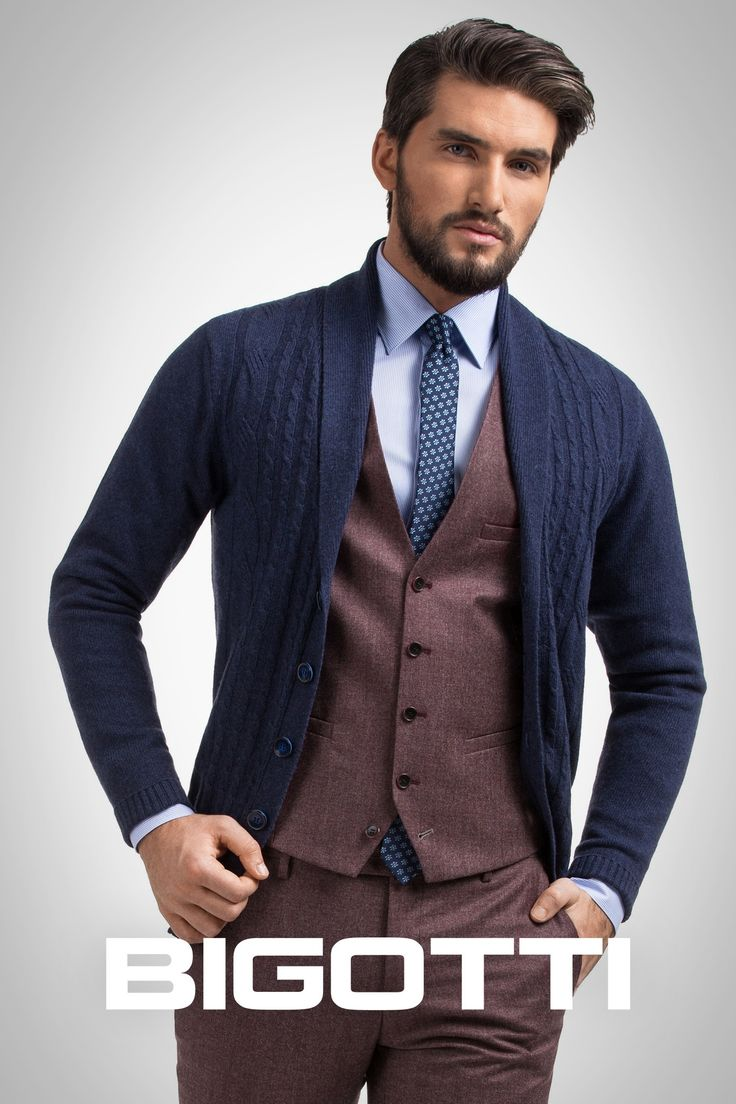 The #wool #waistcoat in the #same #color with #pants #lengthens the #silhouette and adds #elegance. #Choose #shawl #collar #cardigan as #top #piece and you'll get a #modern #outfit, #sophisticated and #relaxed at the #same #time, #suitable at the #office, or for an #afternoon #party.  The #products are #available in #Bigotti #men #clothing #stores and on www.bigotti.ro