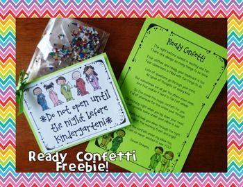 "Hey all!  Happy Back to School!  This fun FREEBIE is definitely not my original idea.  I saw the ""Ready Confetti"" poem a few times online, but was never able to find an author, or the file with the super cute Melonheadz art to download...so I made one myself!"