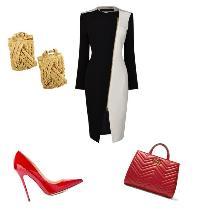 """work"" by aldine-244 on Polyvore featuring Roland Mouret, Jimmy Choo, Gucci and Buccellati"