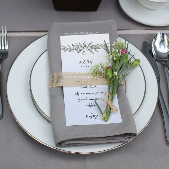 HIGH QUALITY GRAY NAPKINS FOR WEDDINGS. Also known as grey napkins or light charcoal napkins, these soft, subtle and very feminine wedding