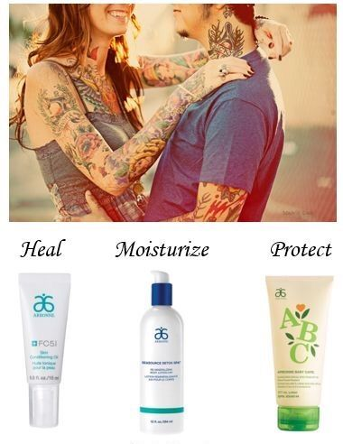 Tattoo TLC - tips how to heal, moisturize and protect your tattoos with Arbonne FC5 Conditioning Oil, SeaSource 24-hour lotion, and ABC SPF30 sunscreen. Shop at www.crystalfisher.arbonne.com
