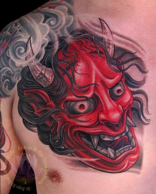 Hannya mask tattoos are often designed as if it is cradled by the waves. Description from blog.tattoodo.com. I searched for this on bing.com/images