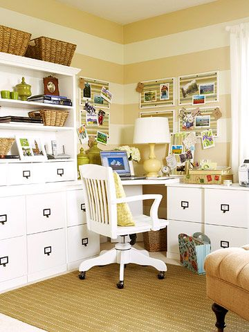 love the furniture, baskets and the stripes!