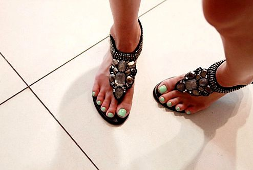 awesome sandals. love the toenail polish too! :]