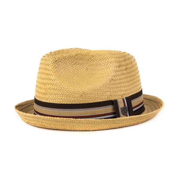 At Brixton, the timeless and clean design is hard to duplicate and comes in a variety of styles that appeal to the individual in a modern yet traditional way. Each piece is constructed with the commitment of high quality that you'll want to hold onto forever.   The Castor is a short brim straw fedora with grosgrain band and custom lining.Details: 100% Paper