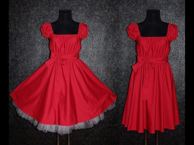 Entdecke lässige und festliche Kleider: 50er ROCKABILLY Petticoat KLEID 48 50 52 Retro eMo made by Marmalade Moon via DaWanda.com