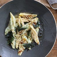 Wedding tortelli with butternut squash and spinach by Michela Chiappa from Simply Italian. I'll take mine without the wedding.