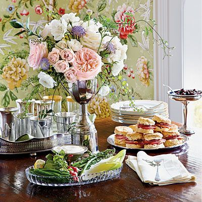 The Derby may be over but this party menu is too good to pass over: Roasted Brown-Butter Pecans, Spring-on-a-Plate Salads, Assorted Vegetables with Whipped Lemon Aioli, Biscuits and Ham with Fig Chutney and Blue Cheese Butter, from Southern Living