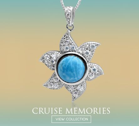 LAURA BONETTI Larimar Jewelry - ´Cruise Memories´ Pendant with White Topaz FOR SALE at www.larimar.com