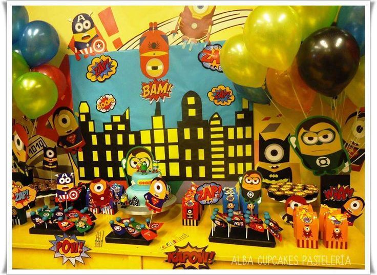 Minions superhero birthday party! See more party planning ideas at CatchMyParty.com!