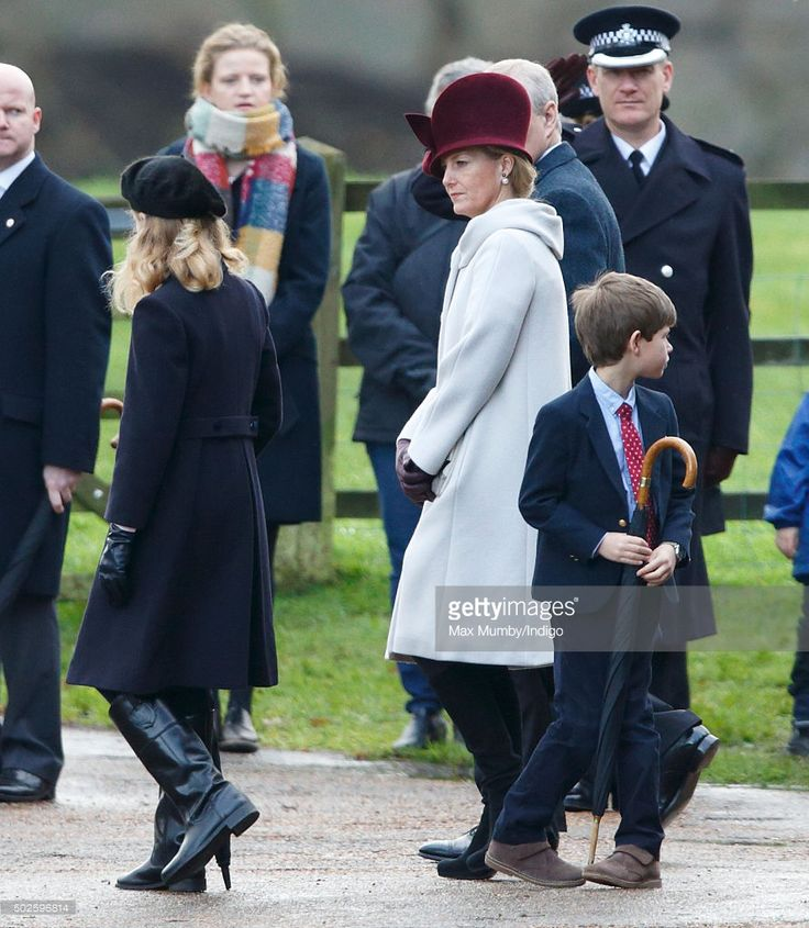 Lady Louise Windsor, James, Viscount Severn and Sophie, Countess of Wessex depart after attending the Sunday service at St Mary Magdalene Church, Sandringham on December 27, 2015 in King's Lynn, England. (Photo by Max Mumby/Indigo/Getty Images)