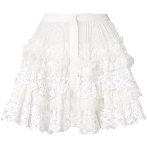 Wandering ruffle tulle skirt ($1,103) ❤ liked on Polyvore featuring skirts, white, high waisted short skirts, flounce skirt, frill skirt, frilly skirt and high waisted skirts