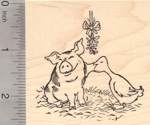 Christmas Pig And Duck Kissing Under The Mistletoe Rubber