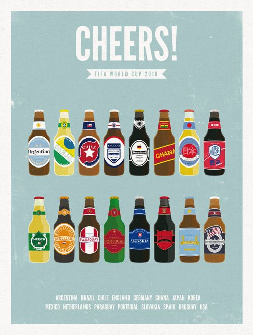 World cup beer bottle poster by Moxy Creative.