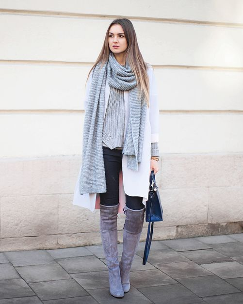 Over The Knee Boots Trend: Nika Huk is wearing a grey stretch suede boots from Choies