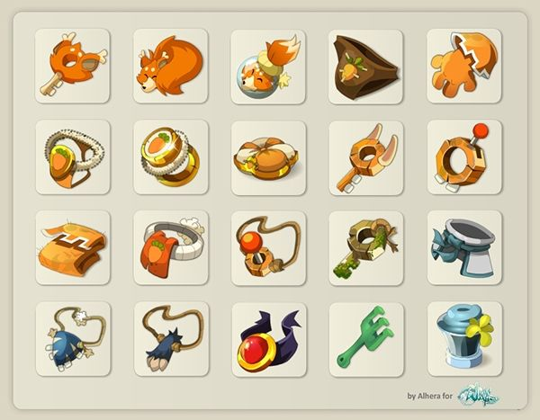 Wakfu items by sandrine vanneste, via Behance