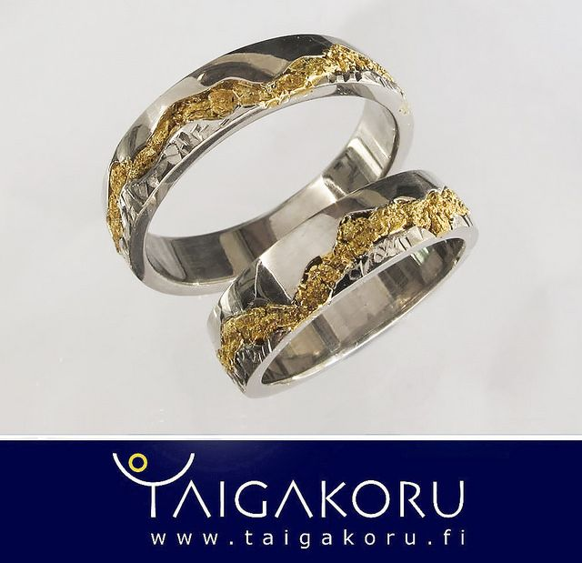 White gold wedding rings, gold nuggets from Lapland. Valkokultaiset vihkisormukset, Lapin kultahiput.