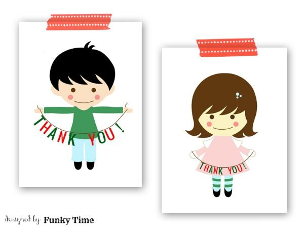 free printable thank you note cards for the kids.  Perfect for Christmas thank you! Adorable!: