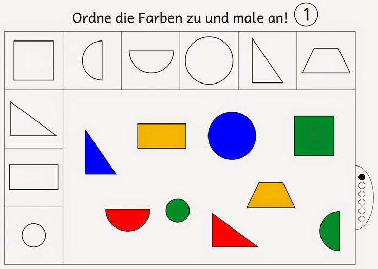 farben zuordnen und anmalen level 1 geometria farben lernen vorschulideen und formen. Black Bedroom Furniture Sets. Home Design Ideas