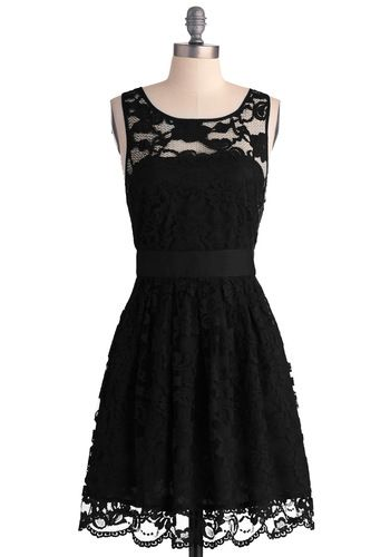 When the Night Comes Dress in Noir by BB Dakota - Black, Lace, Wedding, Party, A-line, Sleeveless, Exclusives, Fit & Flare, Solid, Variation...