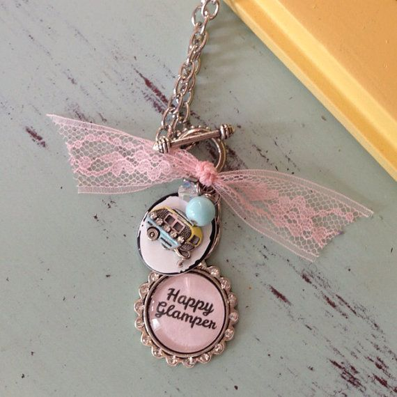 Happy glamper necklace with trailer camper charm glamping, vintage