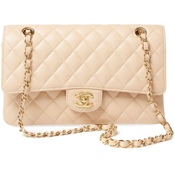Chanel Women's Vintage Beige Quilted Caviar Classic Flap Medium -... ($4,500) ❤ liked on Polyvore featuring bags, handbags, vintage purses, vintage leather handbags, quilted leather purse, leather purses and beige handbags