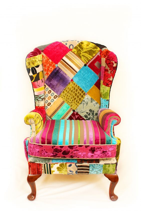 Patchwork Furniture by Just Fabrics - I've been planning to do something similar to an old club chair using upholstery fabric samples