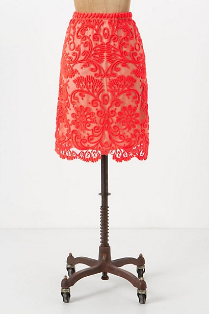 lace skirt.Coral Lace, Lace Pencil Skirts, Statement Necklaces, Red Lace, Clothing, Spring Fashion, Anthropologie Com, Sunblaz Lace, Lace Skirts