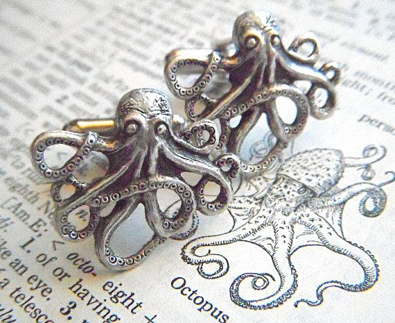 Hey, I found this really awesome Etsy listing at http://www.etsy.com/listing/75741801/mens-cufflinks-silver-octopus-cufflinks