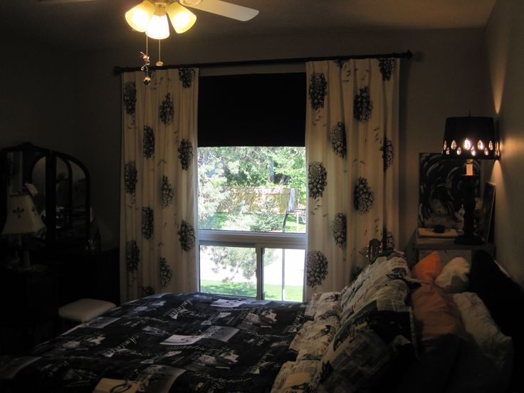 Black white bedroom drapes and roman blinds