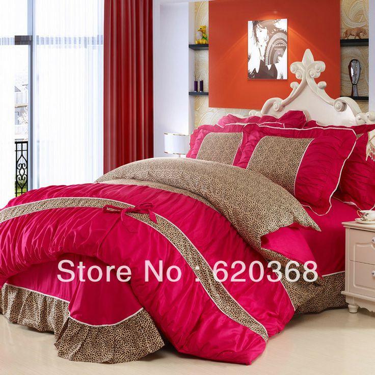 Leopard Pure COTTON Princess Party Korean Style 4pcs Bedding Sets/bed Set  Duvet Cover Bed