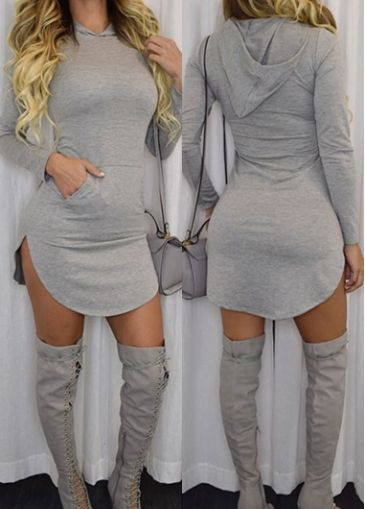 Long Sleeve Grey Curved Hoodie Dress on sale only US$20.36 now, buy cheap Long Sleeve Grey Curved Hoodie Dress at modlily.com