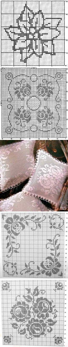 Филейное вязание, подушки с цветами