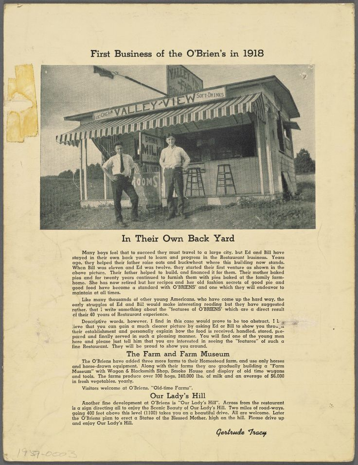 Vintage menu. O'Briens - 1959