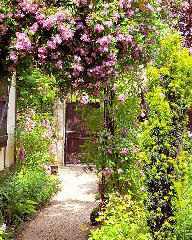 Hou je van een romantische bloementuin? Deze rozenboog staat prachtig in zo'n tuin!