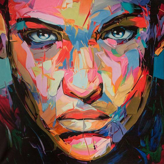 Abstract portrait 100x100 by SztuknijSie on Etsy