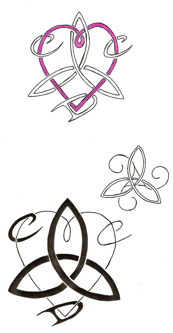 """These tattoo designs are for my older sister who wanted a """"three sisters"""" motif. Looking up some celtic designs, and bringing some together, I came up with these. Then I added our three first name initials. For the bottom one (a heart and triquetra), I left one of the letters thin to see which letter design she preferred - so far it's the thicker letters, and the bottom one she likes the best."""