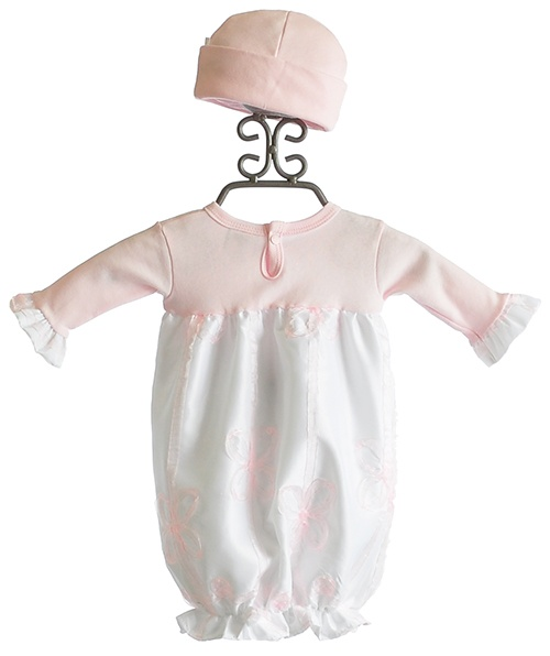 Haute Baby Tres Jolie Pink and White Baby Gown with Hat--Bring home outfit :)