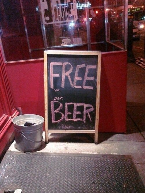 "I saw this exact sign in NYC this weekend! Too funny - ""Free WiFi, Great Beer"""
