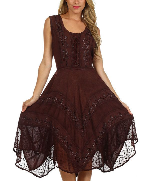 Look at this S Apparel Chocolate Lace-Front Handkerchief Dress on #zulily today!