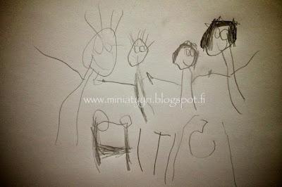 Family - drawn by a four-year-old child; Perhe - neljävuotiaan lapsen piirtämänä