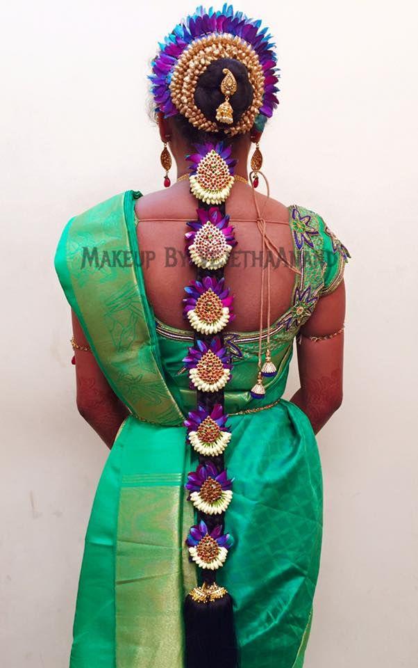 Traditional Southern Indian bride's bridal braid hair. Hairstyle by Vejetha for Swank Studio. #SilkSaree #Blouse #Design #HairAccessory Silk kanchipuram sari. Braid with fresh flowers. Tamil bride. Telugu bride. Kannada bride. Hindu bride. Malayalee bride. Find us at https://www.facebook.com/SwankStudioBangalore