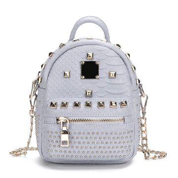 Grey Rivet Design Mini Backpack - US$33.95 -YOINS
